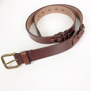 Lucky Brand Braid Detail Brown Leather Belt Small
